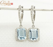 Solid 14K White Gold Natural 3.19CT Aquamarine Diamond Engagement Earrings(China (Mainland))