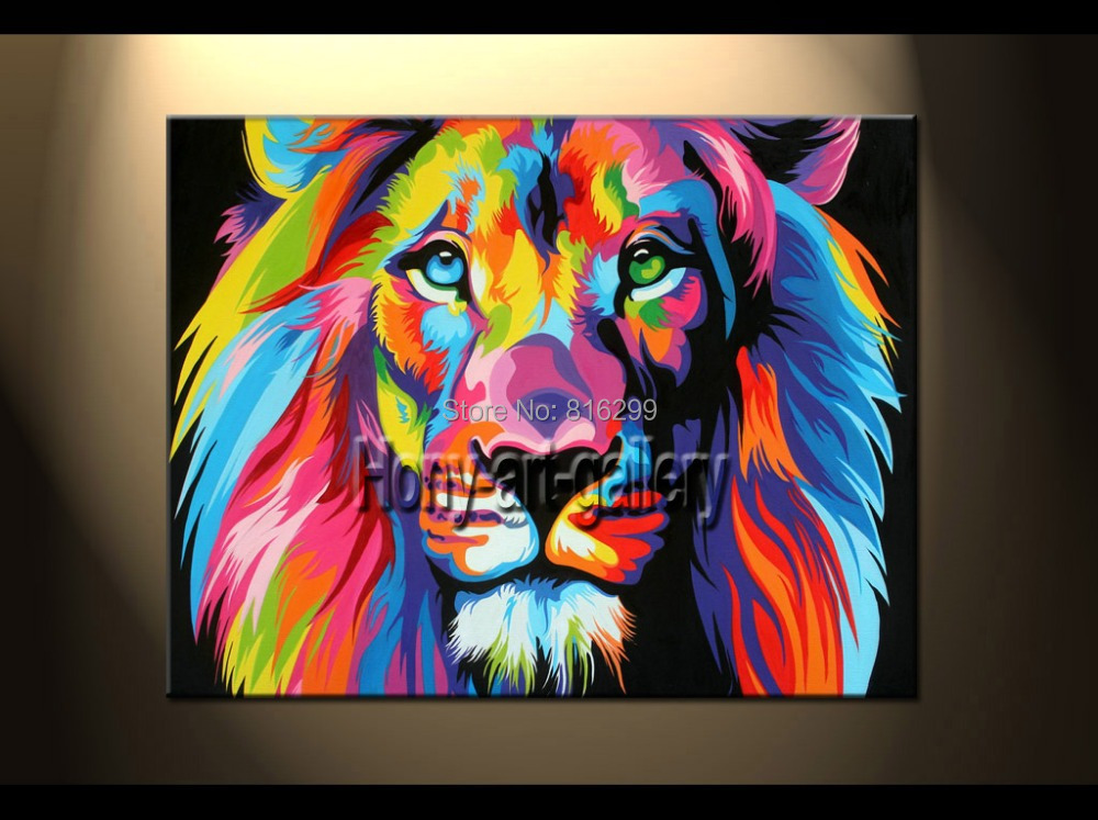 Animal Oil painting canvas Colorful Lion Paintings