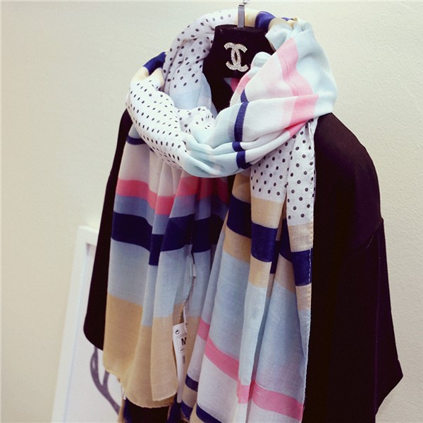 Dark blue white polka dot scarf women sunscreen cape autumn winter tassel scarves warm cape girlfriend scarves free shipping