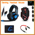 Noswer I8 Gaming Headset Headphones T90 Mouse Sades Mousepad with 3 5mm 1 Female to 2