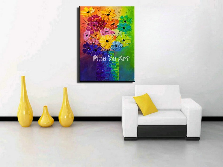 Buy Large Knife paint flower heavy oil bstract modern wall art handmade living room wall painting oil on canvas for bedroom decor cheap