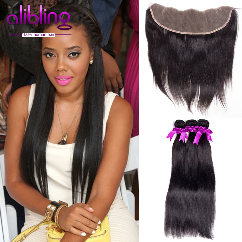 Mongolian Straight With Closure 13x4 Ear To Ear Lace Frontal Closure With Bundles Virgin Human Hair 4 Bundles With Closure(China (Mainland))