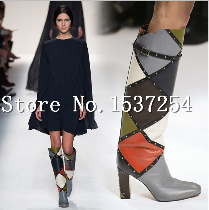 Spring &amp;Autumn Paris Fashion Week Runway Knee Thigh High Boots Leather Booties Gladiator High Heels Shoes Woman Women Boots<br><br>Aliexpress
