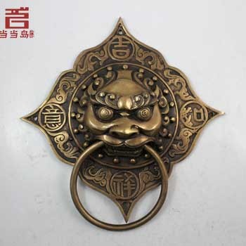 Chinese antique bronze door handle copper ring first shop Shoutou handle 17cm DH-0053