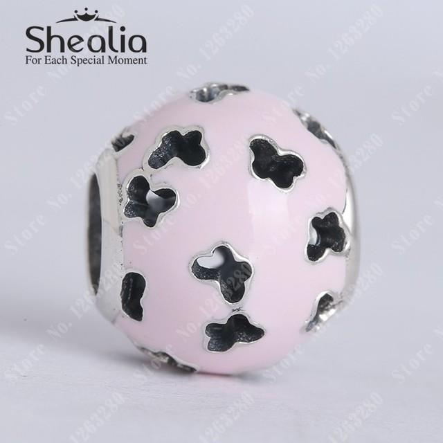 Весна коллекция 925 чистое серебро лёгкие розовый эмаль вырез бабочка подвески-талисманы подходит своими руками браслеты SH0606