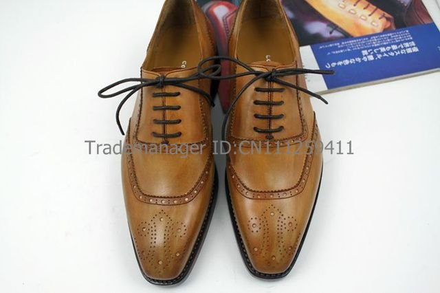 Free shipping custom goodyear welt handmade pure genuine calf leather mens dress oxford color brown shoe No.OX121<br><br>Aliexpress