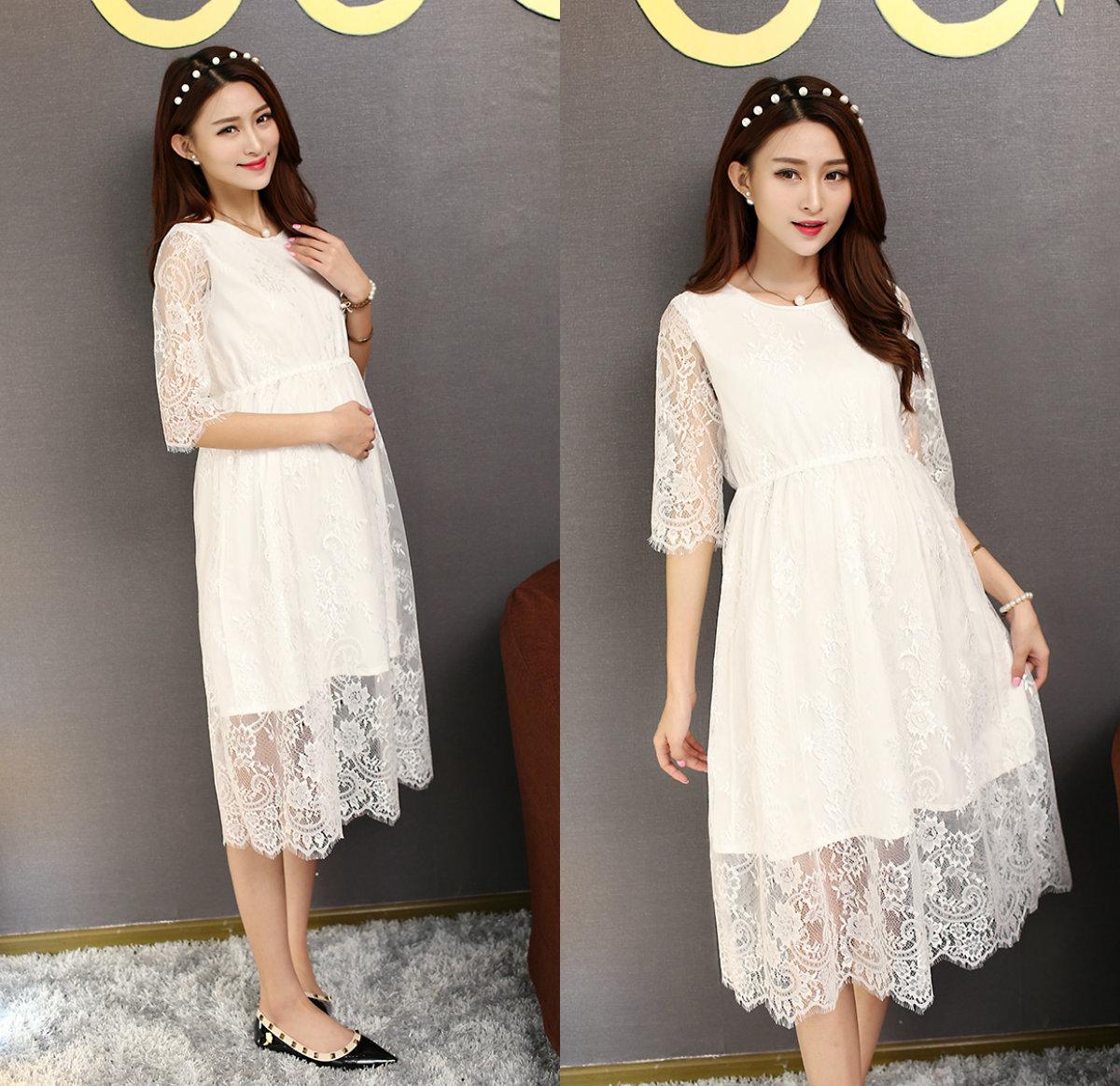 806 # Blanco de Verano de Encaje de Algodón Capa de Maternidad Vestido Largo de Moda de Corea Delgado Media Manga Vestido de Fiesta Ropa para Embarazadas mujeres(China (Mainland))