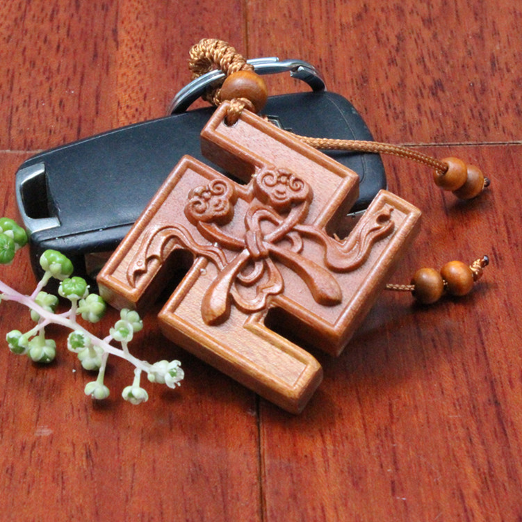 1pc Good Fortune Lucky Keychain wood buddhist Car/Bag/Purse Keychain,Keyring Amulet Pendant Wooden woodwork key ring(China (Mainland))