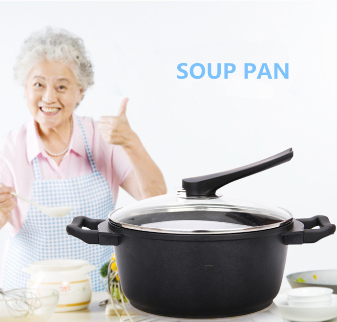 24CM DIE-CASTING ALUMINUM NON-STICK SOUP PAN smokeless soup pot WITH GLASS COVER ,GENERAL USE FOR GAS AND INDUCTION COOKERS(China (Mainland))