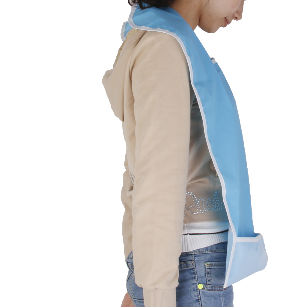 2x Waterproof Adult Mealtime Bib Protector Disability Aid Apron - Sky Blue