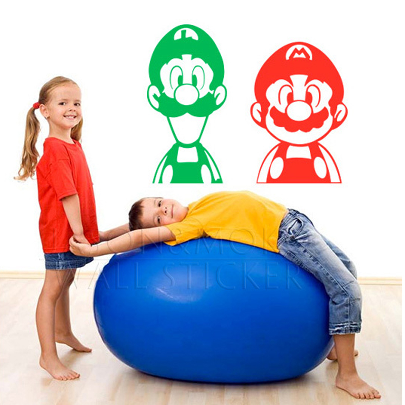 2x Super Mario Brothers Luigi Video Game Nintendo Onesie Wall Sticker Mural Decal Wallpaper Art Kids Boy Room 41x82CM 50x73cm(China (Mainland))