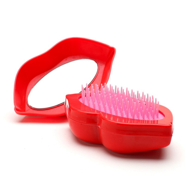 Sexy Lips shape Hairbrush Magic Detangling Comb Hair Brush Salon Styling Antistatic Combs With Mirror Hairdressing Tools GI2328