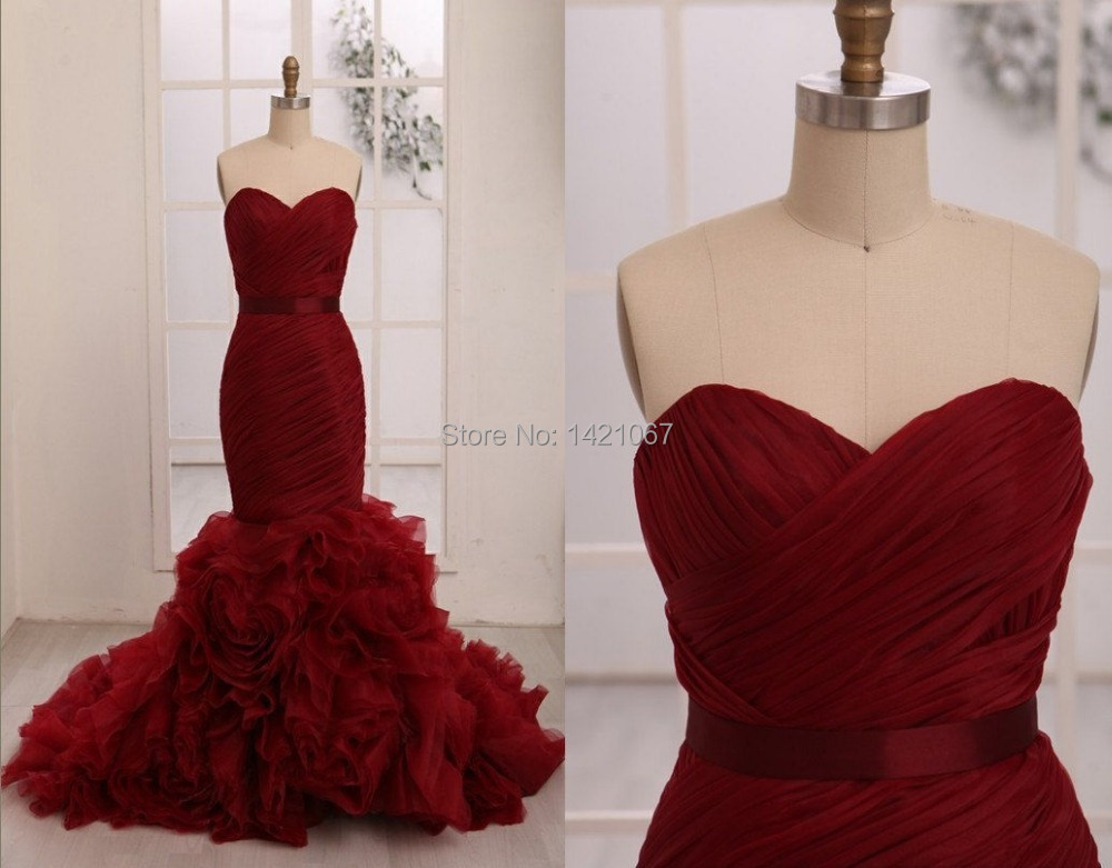 Real Photo Women Mermaid Evening Dresses Red Ruched Long Organza Dress Pageant Formal Prom W006 - Veiai store