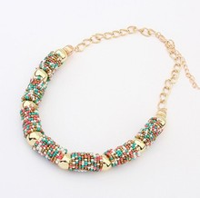 2015 Women Chokers Necklace Handmade Bead Necklaces Bohemia Statement Necklace Jewelry Trends For Gift Party Wedding(China (Mainland))