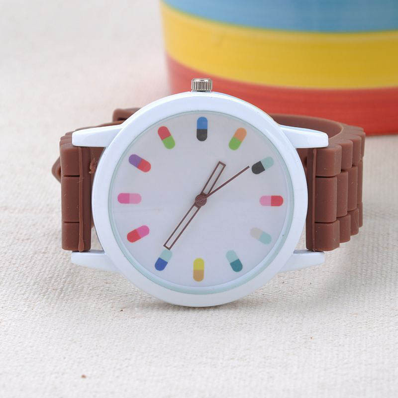 Watches Jelly Ice Colorful Dial Numbers Hollow Out Pointer Sugar Color Silicone Wristwatch Women Dress Watch