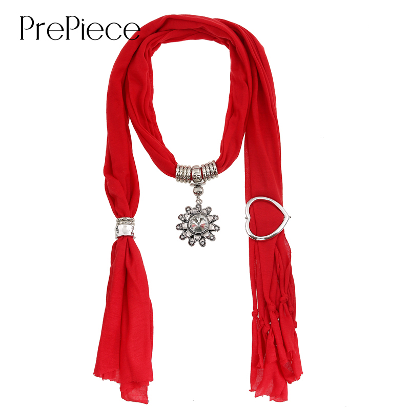 PrePiece Solid Red Color Chiffon Scarf Necklaces Tassel Flower Pendant Necklace 2015 New Trendy Scarves for Women Gifts PSN0021(China (Mainland))