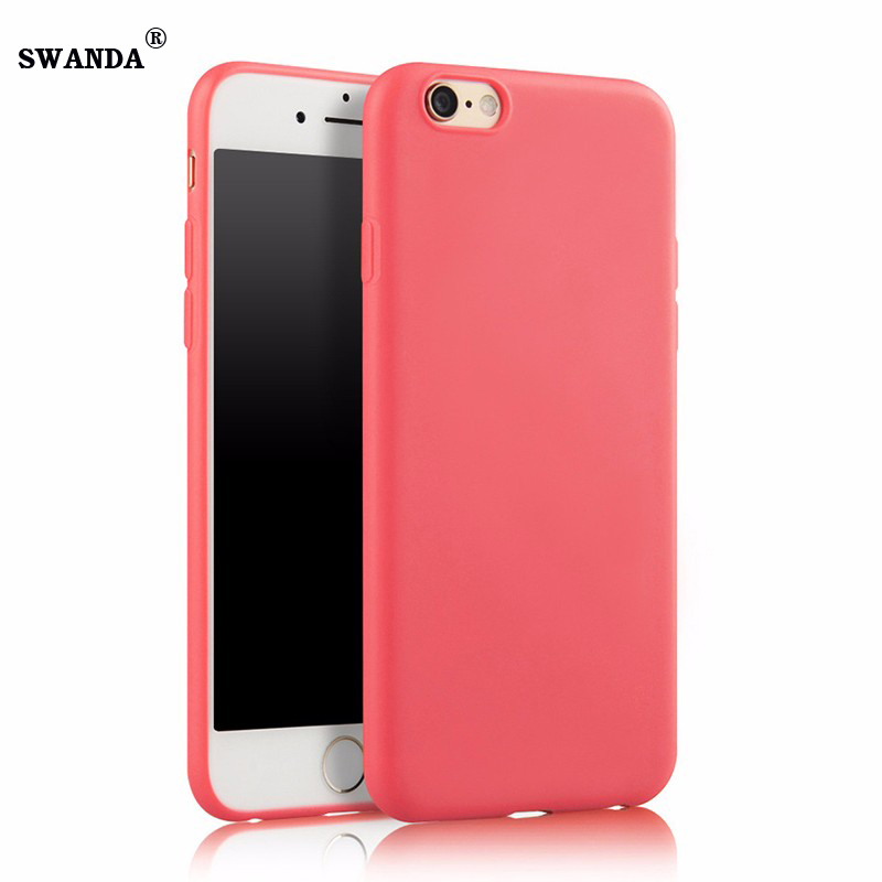 SWANDA Lovely Candy Color Silicone TPU Gel Soft Case For iPhone 5 5s 6s 6 7 7plus Rubber Soft Back Skin Shockproof Phone Cover(China (Mainland))