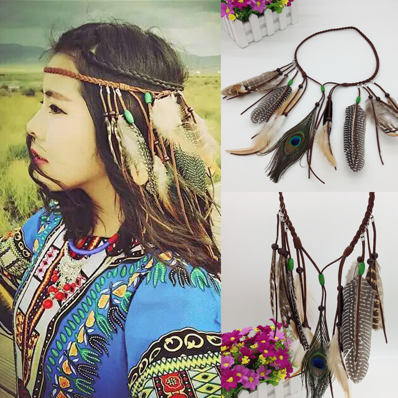 Hippie Bohemian Women Headwear Vintage Indian Style National Bead Peacock Feathers Fringed Headbands Hair Accessories Headdress(China (Mainland))