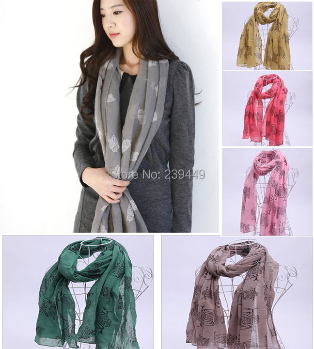 Wholesale 100pcs Free Shipping By DHL / EMS Owl Infinite Loop Pattern Scarf Shawl dropshipping suppliers china outlet beach(China (Mainland))