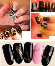 3d Water Transfer Nail Art Stickers ZIP STICKERS TRANSFER NAIL ART ZIPPERS BLING Nail Decals Wraps