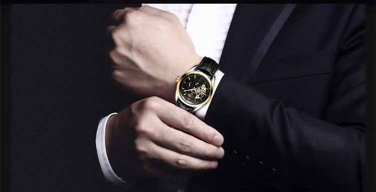 Мужчины Бизнес Автоматические Машины Часы Роскоши Сплава Двойной Strand Пустой Вскользь Кварцевые Часы Мужчины Смотреть relogio masculino