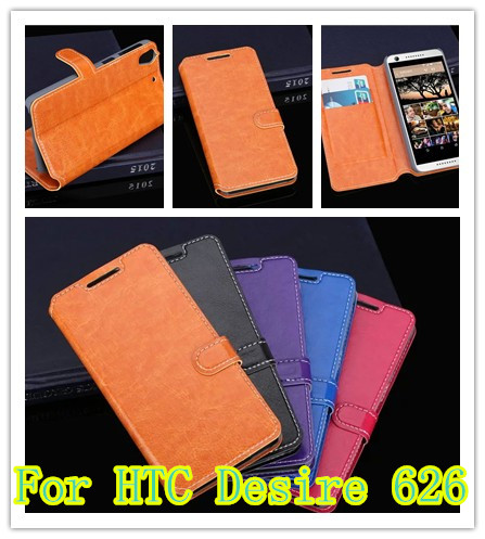 100pcs Luxury Wallet PU Leather Flip Case Cover For HTC Desire 626 Cell Phone Shell Back Cover With Card Holder Stand & Gift
