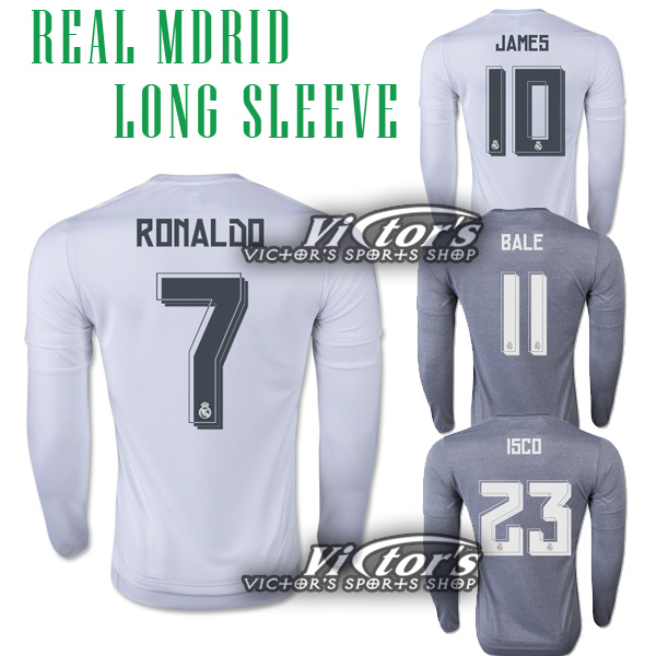 Real Madrid 2016 Long Sleeve Soccer Jersey Camiseta 15 16 LS HOME AWAY GRAY RONALDO BALE JAMES MODRIC JERSEYS OFFICIAL FONT(China (Mainland))