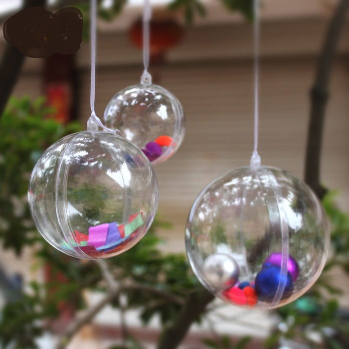 Clear Plastic Christmas Balls Christmas tree ornaments Polystyrene Balls Christmas gifts and decorations(China (Mainland))