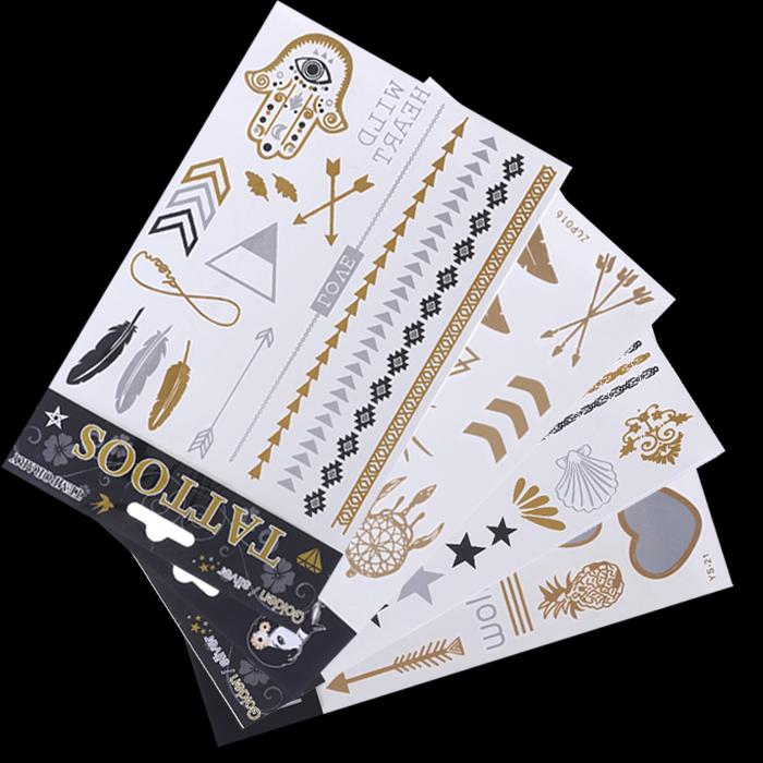 2015 new body art 4pc mix style metallic temporary tattoo sexy product jewelry bracelet flash gold tatoo henna tattoos tatuagem(China (Mainland))