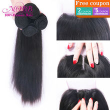 Brazilian Virgin Hair With Closure 4 pcs Human Hair Bundles With Lace Closures Unprocessed Brazilian Straight Hair With Closure(China (Mainland))