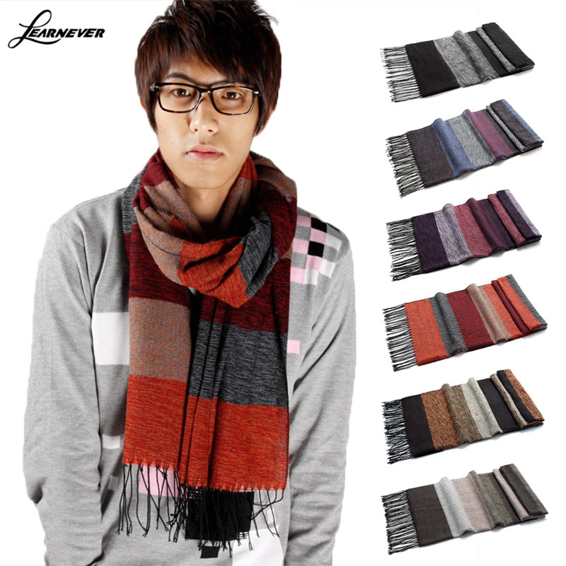 Winter Hot Head Crochet Scarves Cashmere Pashmina Scarf Wrap Cotton Knitted Stripe Men Man Scarves Purple Neck Cover D01837(China (Mainland))