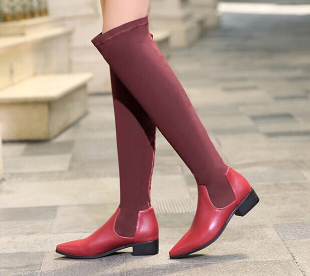 Low Thick Heels Over The Knee Boots Slim Heel Shoes Winter Boots Women Knight Boots Motorcycle Boots Tall Canister Boots