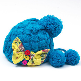Manufacturers Wholesale Wool Autumn Winter Children Knitted Hat Bowknot Wool Hat(China (Mainland))