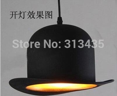 modern style lamp design items 110v 220v power e27 Jeeves Wooster Top Hat pendant lights hat light Outside Black Inside silver(China (Mainland))