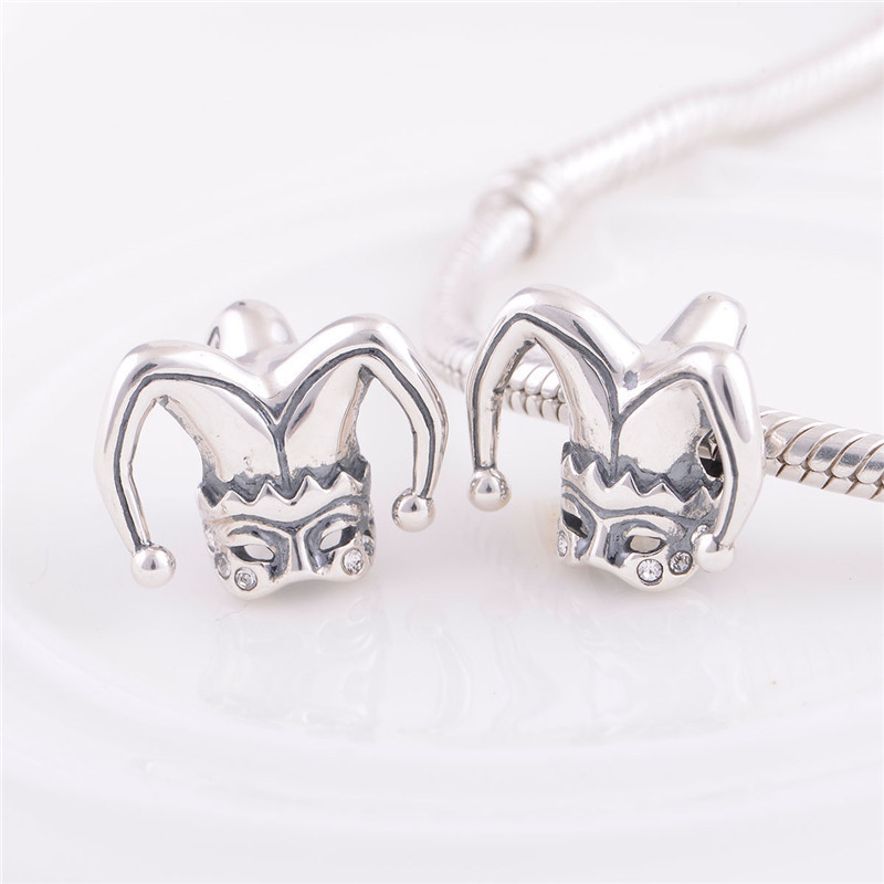 Authentic 925 Sterling Silver European Bead Halloween Clown Women Charm DIY Jewelry Fits Chamilia Bracelet Free Shipping YZ380(China (Mainland))