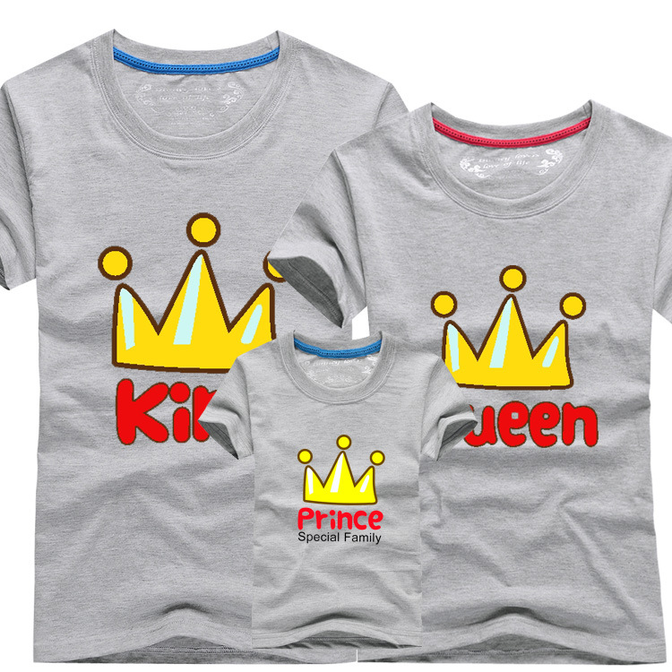 2015 New parent-child costumes family tees summer shorts sleeved kids t shirts cotton crown baby dad mum bqz010-(China (Mainland))