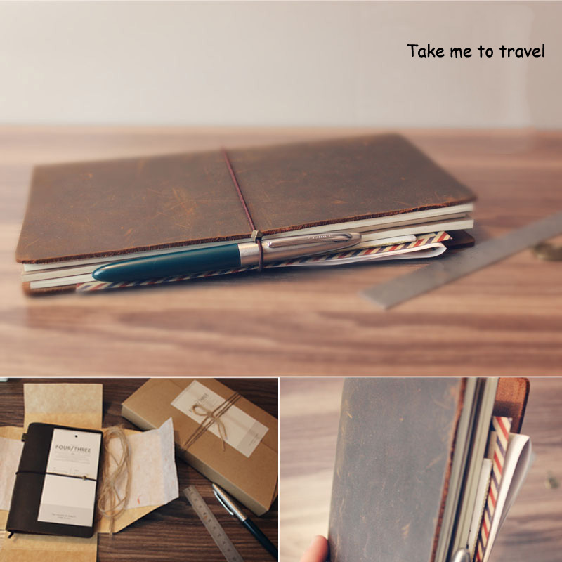 100% Genuine Leather Notebook Vintage Diary Book Gift Travel Journal Notebook(China (Mainland))