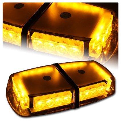 Free Shipping Amber/White Magnetic Mount 12V 24LED Car Auto Truck LED Beacon Emergency Recovery Flashing Warning Strobe Light(China (Mainland))