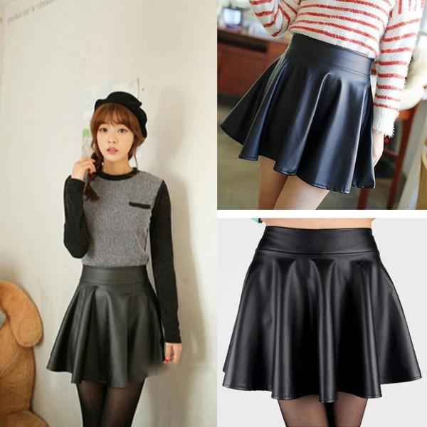Fashion Women Faux Leather Skirt High Waist Skater flare Mini ...
