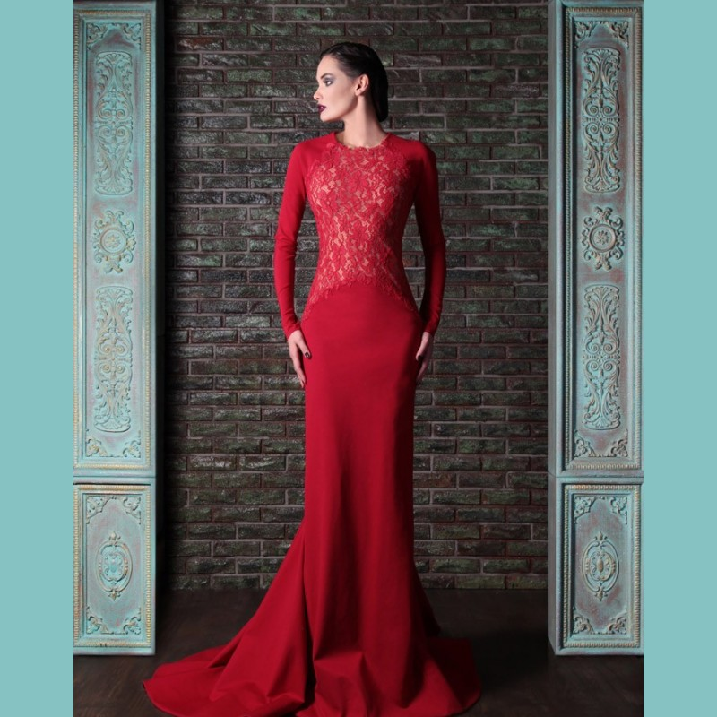 Elegant Long Sleeves Red Evening Dresses 2016 Vestidos Mermaid Backless Prom Dress Illusion Lace Blouse Women Formal Party Gowns(China (Mainland))