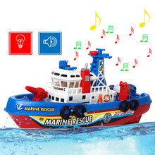 BS#S Fire Boat Electric Boat Children Electric Toy Navigation Non-remote Warship Free Shipping(China (Mainland))