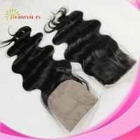 Natural Color Body Wave Silk Base Closure Brazilian Virgin Human Hair 4x4 Swiss Lace Closure In Stock