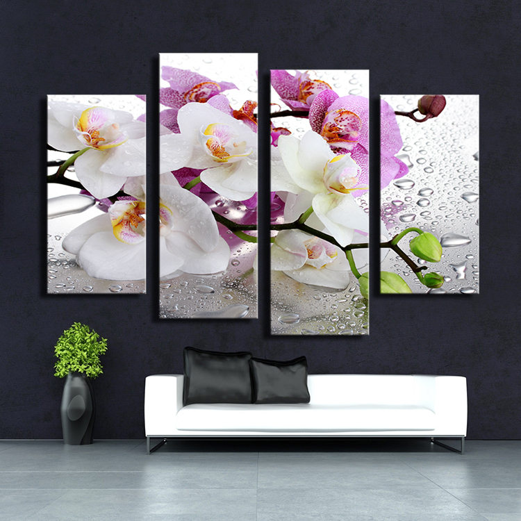 No Frame Orchid Wall Painting Flower Canvas Painting Home Decoration Pictures Wall Pictures For Living Room Modern Art Printed(China (Mainland))