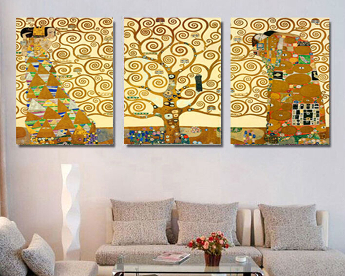 3 pcs Gustav Klimt Tree of Life Restaurant Mural creation for home decoration picture print paintings Large canvas art cheap(China (Mainland))