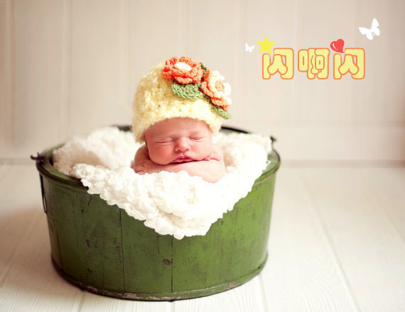 Soft flower cap baby bonnet hat baby hat syncronisation of dual-use(China (Mainland))