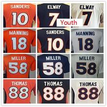 SexeMara SexeMara Youth Kids stitched jerseys,58 Von 7 John 18 Peyton 10 Emmanuel jersey, Size S-XL(China (Mainland))
