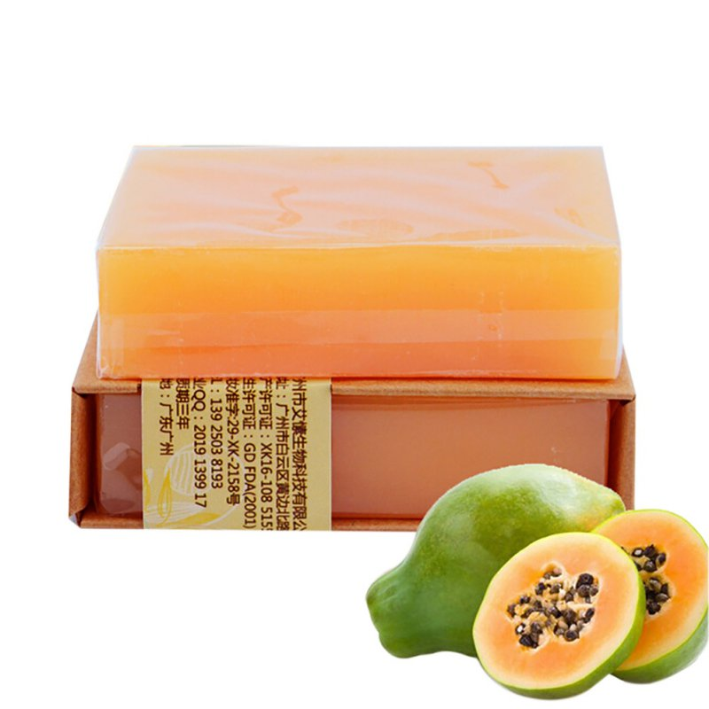 Natural Organic Herbal Green Papaya Whitening Handmade Soap Lightening Skin Remove Acne Moisturizing Cleansing Bath Soap(China (Mainland))