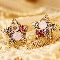 Free Shipping $10 (mix order)  New Fashion Vintage Retro Colorful Rhinestone Stars Lovely Earrings E600 Jewelry