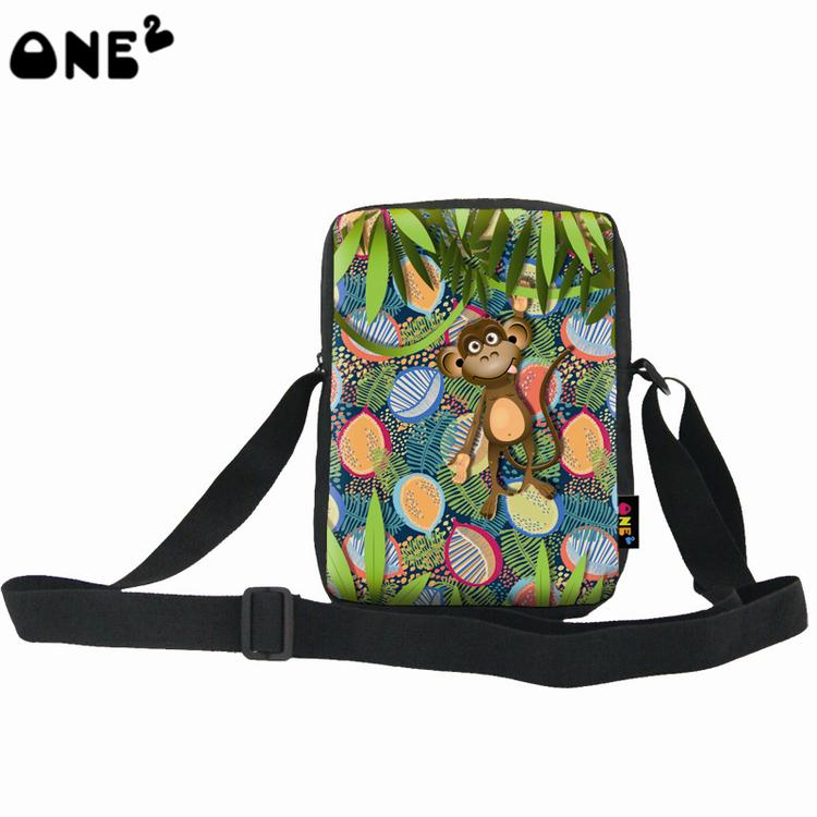 ONE2 Design green animal monkey single shoulder messenger bag for teenager boys girls kids children college high school students(China (Mainland))