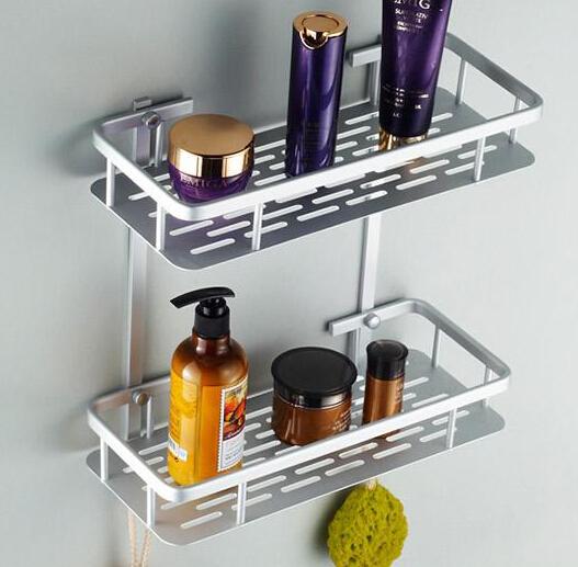 Double Tiers Wall Bathroom Towel Soap Dish Shampoo Cup Paper Holder Rack Bathroom Shelves Bath Hardware Set Products Supplies(China (Mainland))